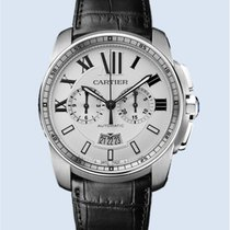 Cartier Calibre de Cartier Chronograph Stahl weiß Leder -NEU-