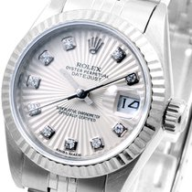 Rolex Ladies SS Datejust Factory Silver Sunburst Diam Dial