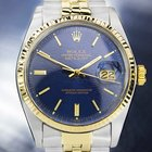 Rolex Oyster Datejust, 14K & SS, Blue Computer Dial