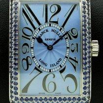 Franck Muller Long Island 18k white gold, blue sapphires,full set