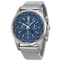 Breitling Transocean Chronograph Unitime Blue Dial Mens Watch...