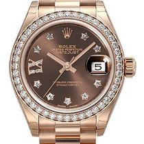 Rolex Lady-Datejust 28 18 kt Everose-Gold 279135 RBR Choco DIA