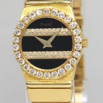 Piaget Polo 18k Yellow Gold Black Diamond 21mm Ladies Quartz...