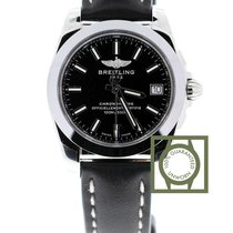 Breitling Galactic 36mm Sleek T Black Dial Leather Strap NEW