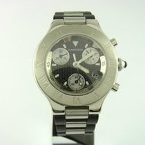 Cartier Must 21 Chronoscaph Chronograph Quarz Ref 2424 Stahl...