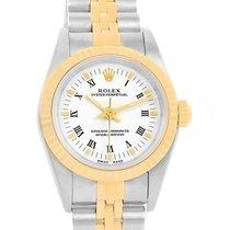Rolex Nondate Ladies Steel 18k Yellow Gold White Dial Watch 76193