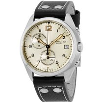 Hamilton Khaki Pilot Beige Dial Black Leather Strap Men's...