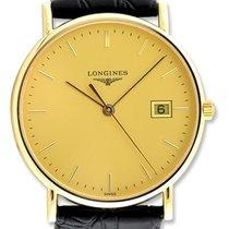Longines Presence 18kt Gold Mens Strap Watch Date L4.743.6.32.2