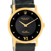 Rolex Cellini Classic 18k Yellow Gold Black Dial Watch 5115...