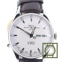 Ball Trainmaster Eternity 39.5 mm Silver Dial Crocodile Strap NEW