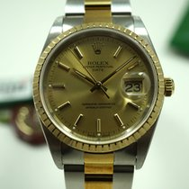 Rolex Date 18k & steel w/box, papers, hang tags C.2001