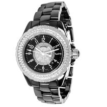 Chanel J12 Black Ceramic & Diamond Quartz Dress Watch H1708