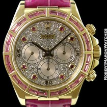 Rolex 16588 Daytona 18k Baguette Pink Sapphire Bezel Pave...