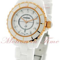 Chanel J12 33mm Quartz, White Diamond Dial, Rose Gold Bezel -...