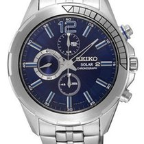 Seiko Mens Recraft Solar Chronograph - Blue Dial - Stainless...