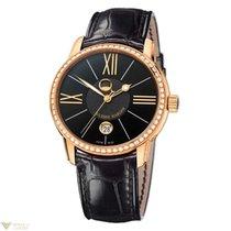 Ulysse Nardin Classico Luna Rose Gold 18K Diamonds Bezel Black...