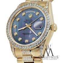 Rolex Presidential 36mm Day Date Blue Tahitian Diamond Watch...