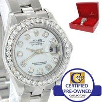Rolex DateJust 69160 U Steel Diamond Bezel No Holes Watch w/ Box