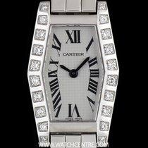 Cartier 18k White Gold Silver Roman Dial Diamond Set Lanieres...