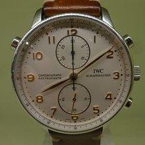 IWC modern 2006 ref 3712 double chrono portuguaise steel box...