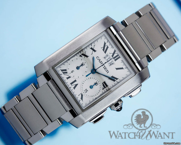 Cartier Tank Francaise Chronoflex Chronograph - Ref W486860 CE - Box/Papers 100% Complete & As New