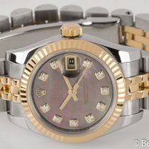 Rolex - Ladies Datejust : 179173 dark mother of pearl dial on...