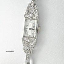 Cyma Art Déco Damen 950 Platin Handaufzug