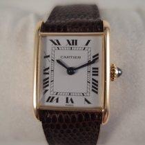 Cartier Tank 18 k solid gold, manual winding, gp Cartier buckle,