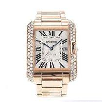 Cartier Tank Anglaise Xl 18k Rose Gold Wt100004 Diamond Bezel...