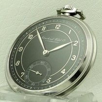 IWC Pocket Watch Stainless Steel Black Dial, made 1930's