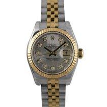 Rolex Datejust Ladies Bimetal MOP Diamond Dial, Ref: 179173