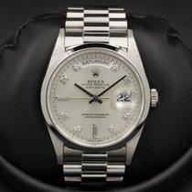 Rolex Day-Date - PLATINUM - 18206 - U Serial Silver Diamond...