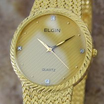 Elgin Swiss Made 32mm Mens 1990s Vintage Gold Plated Luxury...
