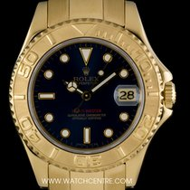 Rolex 18k Y/Gold O/P Blue Dial Mid-Size Yacht-Master B&P...