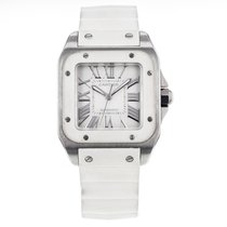 Cartier Santos 100 2878 Stainless Steel White Rubber Automatic...
