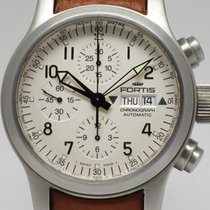 """Fortis """"B-42 Flieger Chronograph"""" Brown leather strap"""