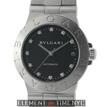 Bulgari Diagono Stainless Steel 35mm Black Diamond Dial...