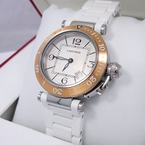 Cartier Pasha Seatimer W3140001 33mm 18k Rose Gold Bezel 3025...