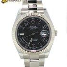 Rolex DateJust II Stainless Steel 18k White Gold Black Dail Watch