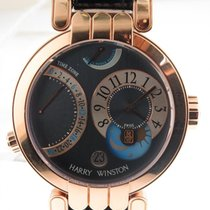 Harry Winston Premier Excenter Time Zone 18k Rose Gold Watch...