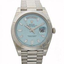 Rolex Day-Date 40 228206 Ice Blue Diamond Baguette Platinum...
