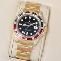 Rolex GMT Master II Black Dial 18k Yellow Gold 116758