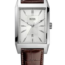 Hugo Boss 1512916 elegante eckige Herrenuhr in silber braun 33 mm