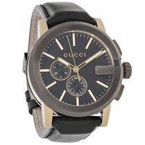Gucci 101 G-Chronograph Mens Black Leather Swiss Quartz Watch...