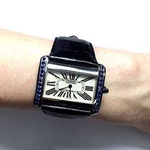 Cartier Divan Stainless Steel Ladies Watch W Diamond Cut...