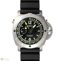 Panerai Submersible Depth Gauge Titanium Rubber Men`s Watch