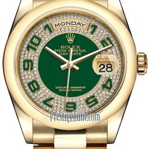 Rolex Day-Date 36mm Yellow Gold Domed Bezel 118208 Green Pave...