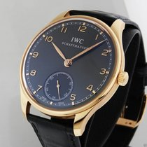 IWC Portuguese Hand Wound IW545406 18kt Rose Gold Grey Dial