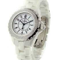 Chanel J12 H0967 in White Ceramic with 2 Row Diamond Bezel