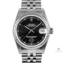 Rolex Datejust Stainless Steel Black Stick Dial Fluted Bezel...